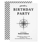 Elegant Black and White Nautical Compass Birthday Invitation