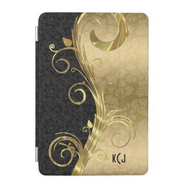 Elegant Black Damasks Gold Swirls iPad Mini Cover