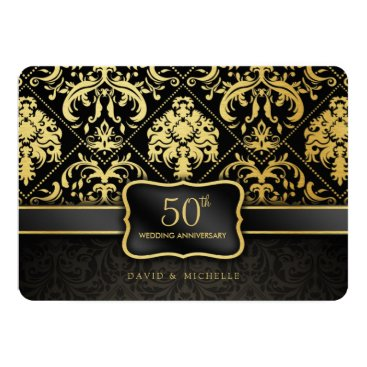 Elegant Black & Gold 50th Wedding Anniversary Card