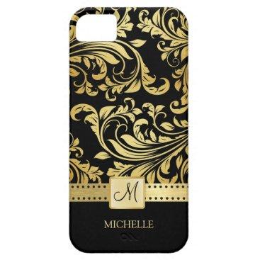 Elegant Black & Gold Damask with Monogram iPhone SE/5/5s Case