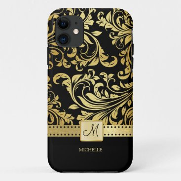 Elegant Black & Gold Damask with Monogram iPhone 11 Case