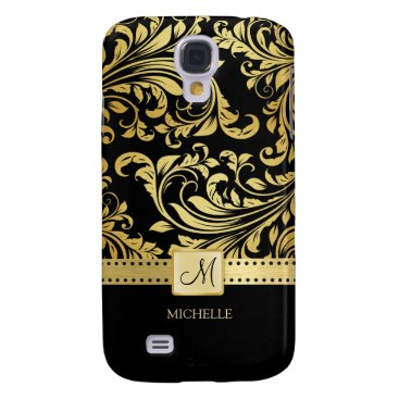 Elegant Black & Gold Damask with Monogram Galaxy S4 Case