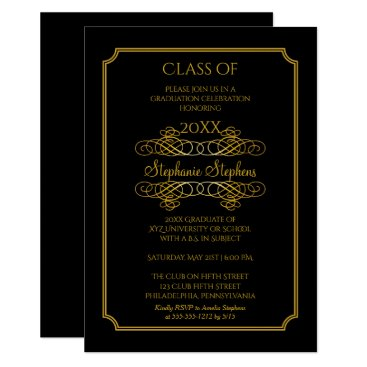 Elegant Black | Gold University Graduation Party Invitation