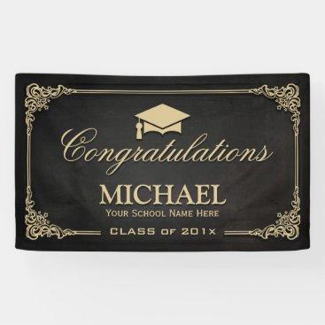 Elegant Black Gold Vintage Frame Graduate Party Banner