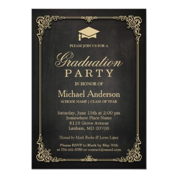 Elegant Black Gold Vintage Frame Graduation Party Invitation