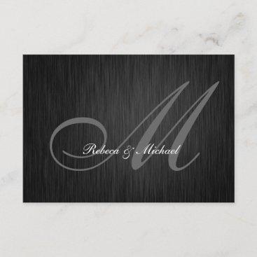 Elegant Black Monogram Wedding RSVP Card