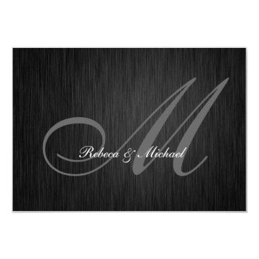 Elegant Black Monogram Wedding RSVP Card