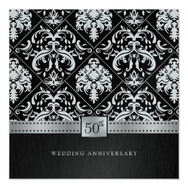 Elegant Black & Platinum 50th Wedding Anniversary Card