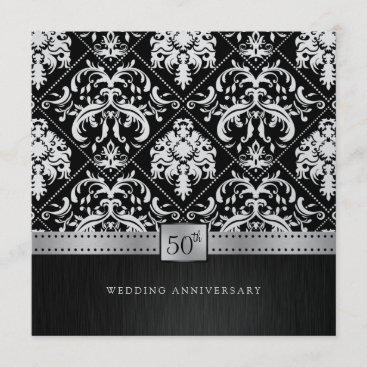 Elegant Black & Platinum 50th Wedding Anniversary Invitation