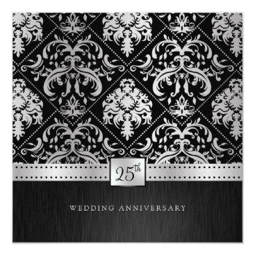 Elegant Black & Silver 25th Wedding Anniversary Invitation