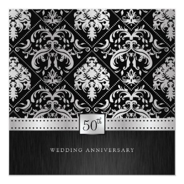 Elegant Black & Silver 50th Wedding Anniversary Invitation