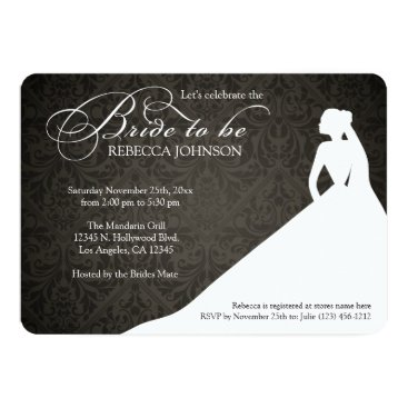 Elegant black & white 'Bride to Be' bridal shower Invitation