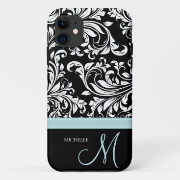 Elegant Black & White Damask Pattern with Monogram iPhone 11 Case