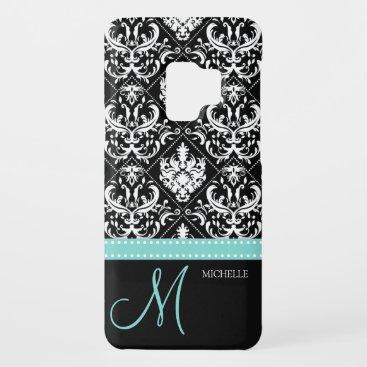 Elegant Black & White Damask Pattern with Monogram Case-Mate Samsung Galaxy S9 Case