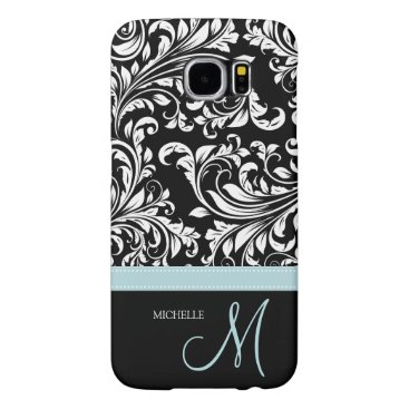 Elegant Black & White Damask Pattern with Monogram Samsung Galaxy S6 Case