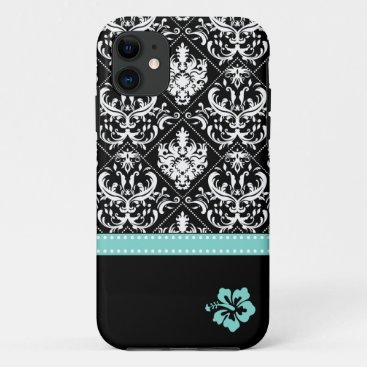 Elegant Black & White Damask with Hibiscus iPhone 11 Case