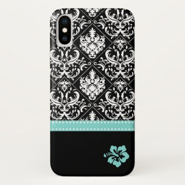 Elegant Black & White Damask with Hibiscus flower iPhone XS Case