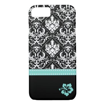 Elegant Black & White Damask with Hibiscus flower iPhone 8/7 Case