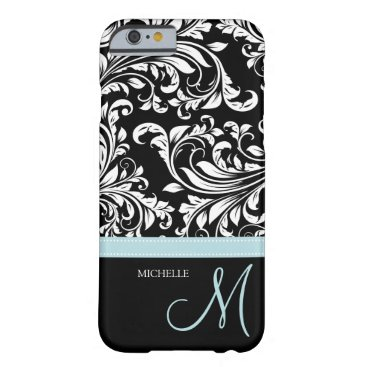 Elegant black & white floral damask with monogram barely there iPhone 6 case