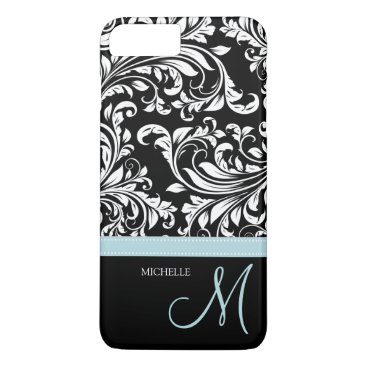 Elegant black & white floral damask with monogram iPhone 8 plus/7 plus case