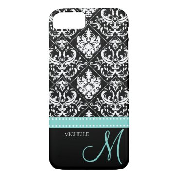 Elegant black & white vintage damask with monogram iPhone 8/7 case