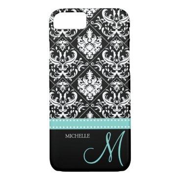 Elegant black & white vintage damask with monogram iPhone 8/7 case