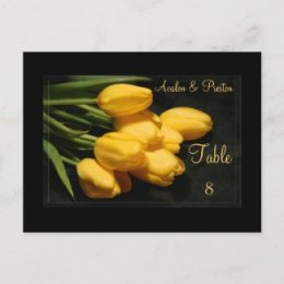Elegant Black & Yellow Tulips Table Setting Card Post Card
