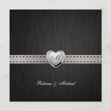 Elegant (Blank) Damask Monogram Wedding Invites