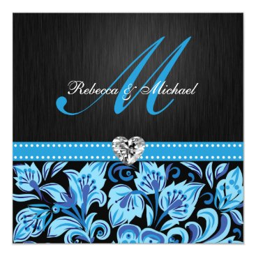 Elegant Blue and Black Floral Patterns Invitation