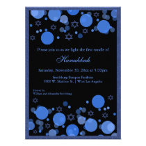 Elegant Blue Bokeh Lights Hanukkah Celebration Invitation