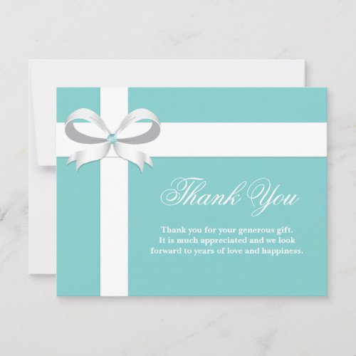 Elegant Blue Bridal Shower Thank You Card
