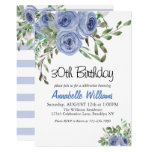 Elegant Blue Floral Watercolor Stripes Birthday Invitation