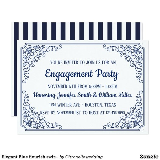 Elegant Blue flourish swirl frame engagement party Card