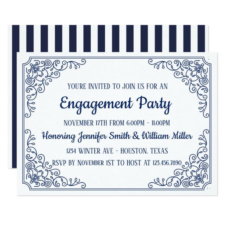 Elegant Blue flourish swirl frame engagement party Card