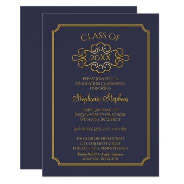 Elegant Blue | Gold College Graduation Party Card