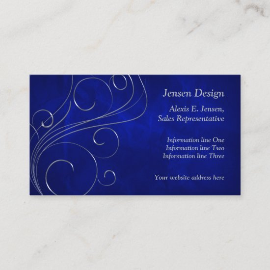 Elegant Blue Silver Swirl Design Business Card