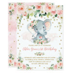 ❤️ Elegant Blush Floral Elephant Girl 1st Birthday Invitation