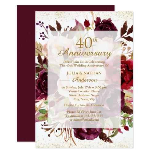 Elegant Burgundy Gold 40th Wedding Anniversary Invitation