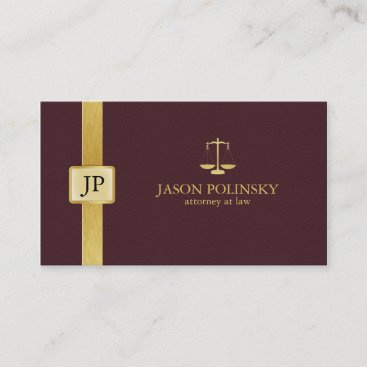 Elegant Burgundy Leather and Gold Attorney At Law Business Card