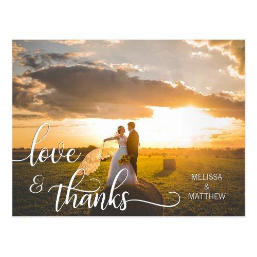 Elegant Calligraphy Script LOVE & THANKS  w/ PHOTO Postcard