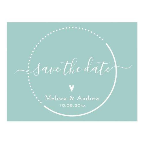 Elegant Calligraphy - Teal Wedding Save the Date Postcard