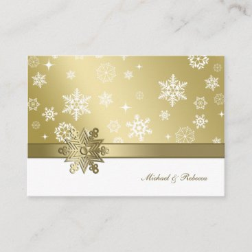 Elegant Champagne and White Winter Snowflake RSVP Enclosure Card