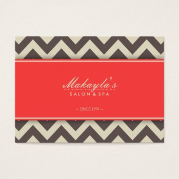 Elegant Chevron Modern Brown, Green and Coral Business Card