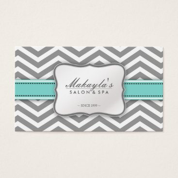 Elegant Chevron Modern Gray, white and Blue Business Card