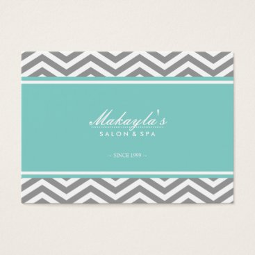 Elegant Chevron Modern Gray & White with tif blue Business Card