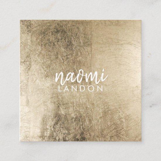 Elegant chic gold modern square minimalist white square business card