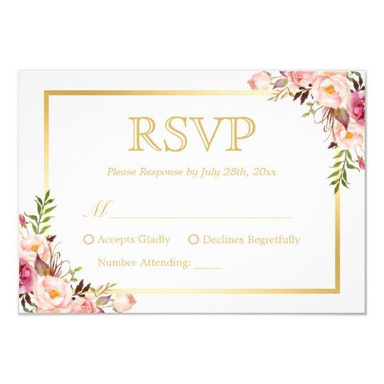 Elegant Chic Gold Pink Fl Wedding Rsvp Reply Card