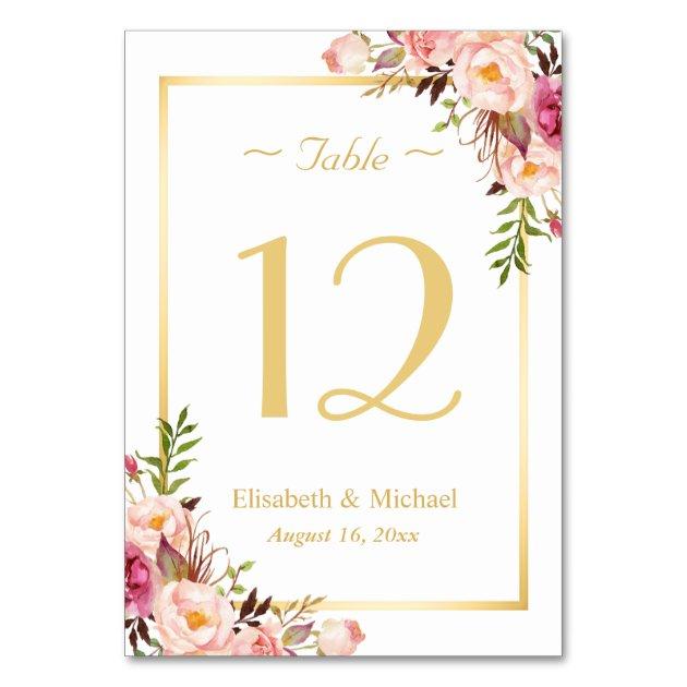 Elegant Chic Pink Fl Gold Wedding Table Number