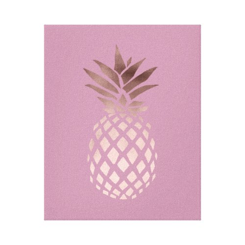 elegant chick clear rose gold tropical pineapple canvas print