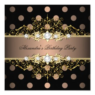 Elegant Coffee Gold Black Polka Dot Birthday Party 5.25x5.25 Square Paper Invitation Card